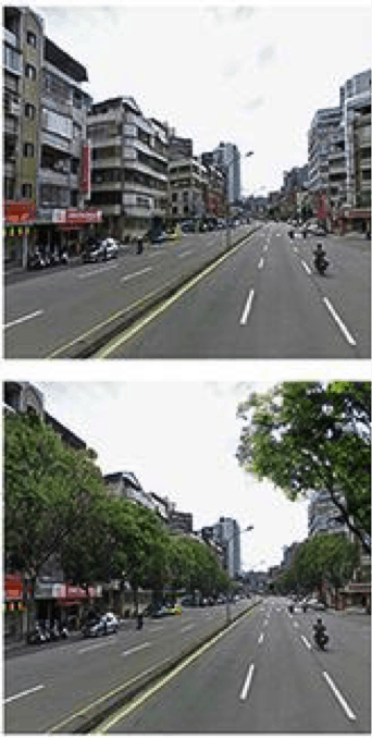 Road with and without trees.